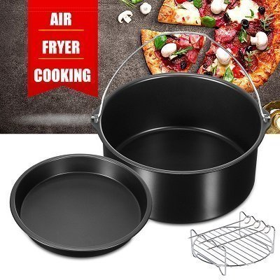 Air Fryer Cooking and Baking Accessory Set Baking Dish + Pizza Pan + 3 Skewers + Rack