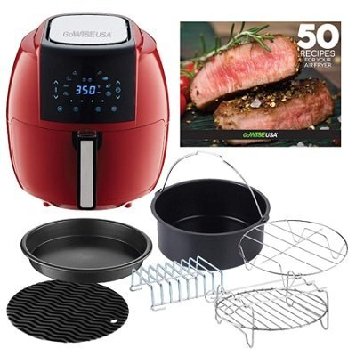 GoWISE USA 5.8-Quarts 8-in-1 Air Fryer XL with 6-PC Accessory Set plus 50 Recipes