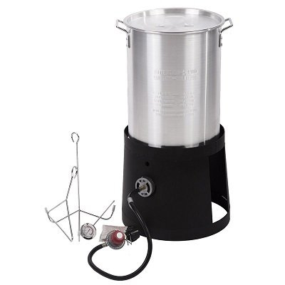 Portable Propane Cooker With 30-Quart Outdoor Turkey Fryer Kit Aluminum Pot
