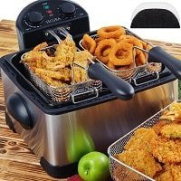 Secura 4.2L or 17-Cup 1700-Watt Stainless-Steel Triple-Basket Electric Deep Fryer, with Timer Free Extra Oil Filter