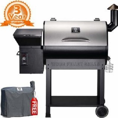 Z Grills ZPG-7002E Wood Pellet Smoker, 8 in 1 BBQ Auto Temperature Controls, 700 sq inch Cooking Area, Sliver